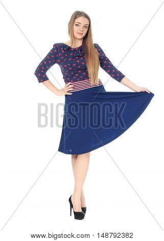 Studio Shot Of A Large Woman In Blue Dress