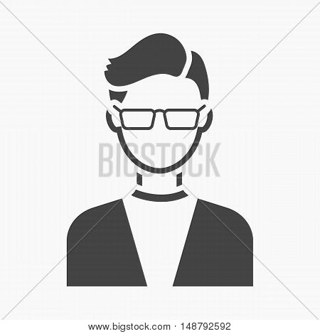 Man with glasses icon black. Single avatar, peaople icon from the big avatar simple.