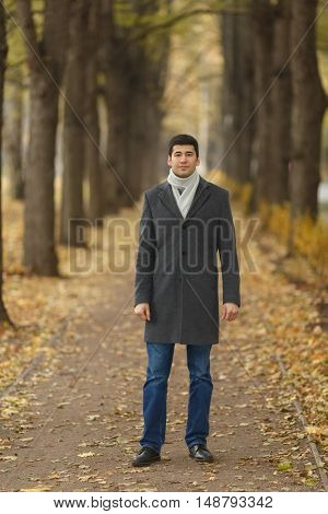 Portrait in full growth young man in gray coat on alley in autumn park
