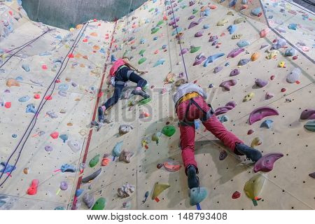 Rock climbing. Two young girls with equipment rises on specially-equipped wall for climbers
