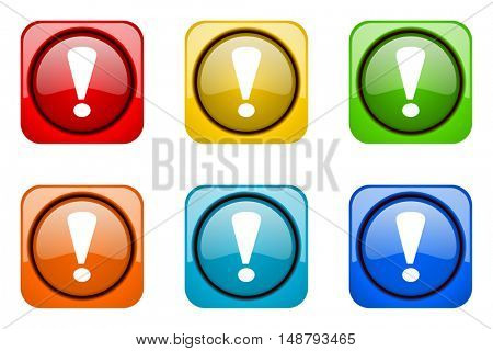 exclamation sign colorful web icons