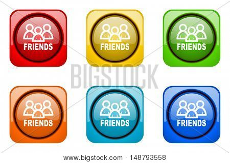 friends colorful web icons