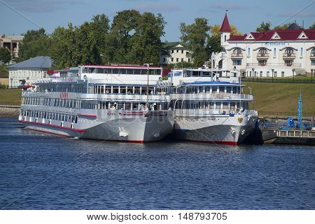 UGLICH, RUSSIA - AUGUST 22, 2015: Two cruise ships