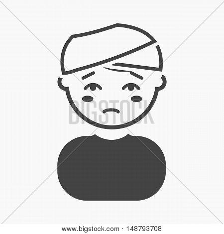 Head injury icon cartoon. Single sick icon from the big ill, disease simple.