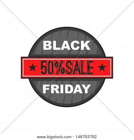 Black Friday 50 off icon in cartoon style isolated on white background vector illustration