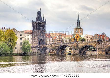 PRAGUE CZECH REPUBLIC - May 06.2012: Ancient Charles Bridge over the Vltava River the main sight of city