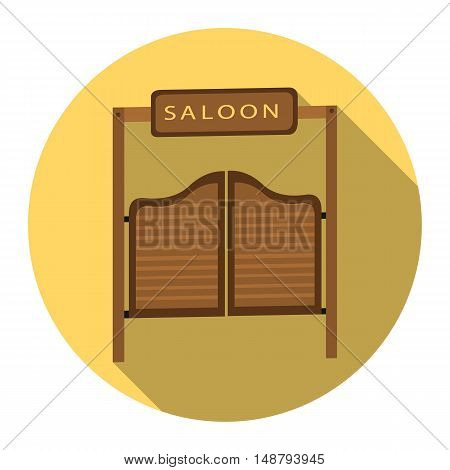 Saloon icon flat. Singe western icon from the wild west flat.