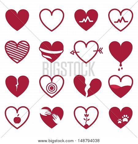 Red hearts icon set isolated on white background. Vector illustration