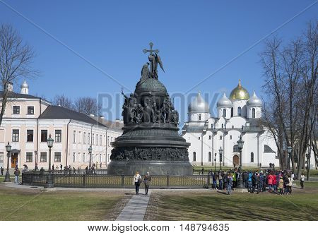 VELIKIY NOVGOROD, RUSSIA - APRIL 18, 2015: View of the monument