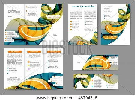 Set of abstract brochure with abstract lines and waves