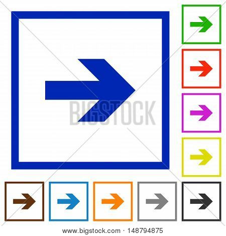 Set of color square framed right arrow flat icons