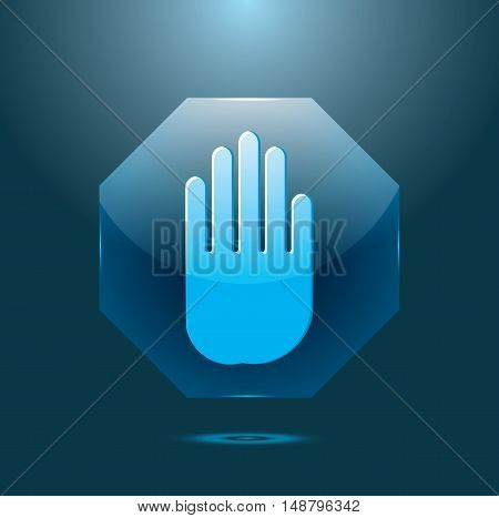 Vector illustration of stop signal sign with hand. Glass icon