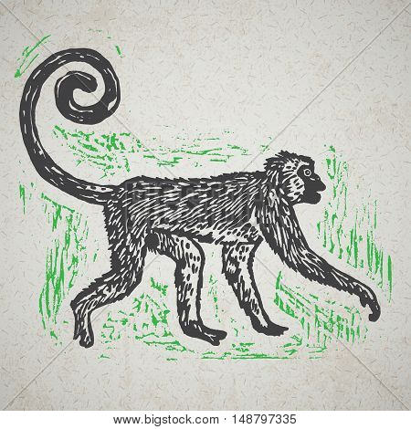 Linocut tropical Jungle Monkey on background. Vector Illustrated Jungle Monkey.