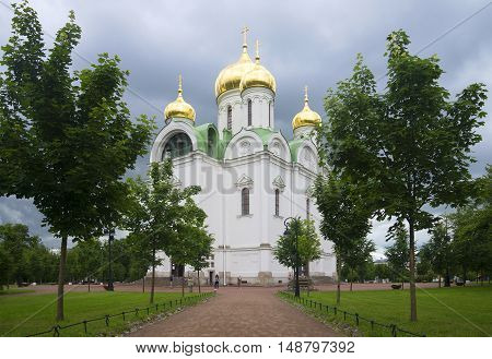 SAINT PETERSBURG, RUSSIA - JULY 10, 2015: At the St. Catherine's Cathedral, cloudy july afternoon. Religious landmark of the Tsarskoye Selo