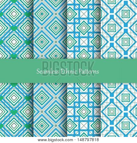 Seamless vector mosaic patterns set. Decorative and design elements for textile, covers, wallpapers, print, wrap. Eps10
