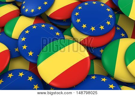 Congo And Europe Badges Background - Pile Of Congolese And European Flag Buttons 3D Illustration