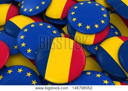 Chad And Europe Badges Background - Pile Of Chadian And European Flag Buttons 3D Illustration