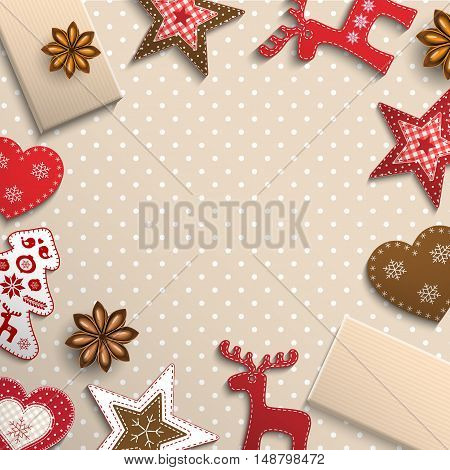 Christmas background, small scandinavian styled red decorations lying on beige polka dot patterned background, inspired by flat lay style, vector illustration, eps 10 with transparency