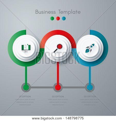 Vector illustration infographics three options. Stock vector