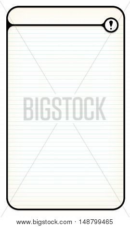 Black text box for your text with lined paper and exclamation mark