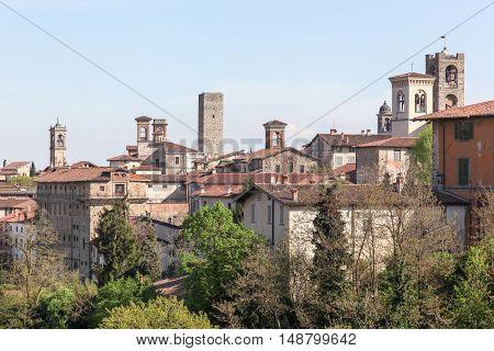 View of Bergamo upper city in Italy