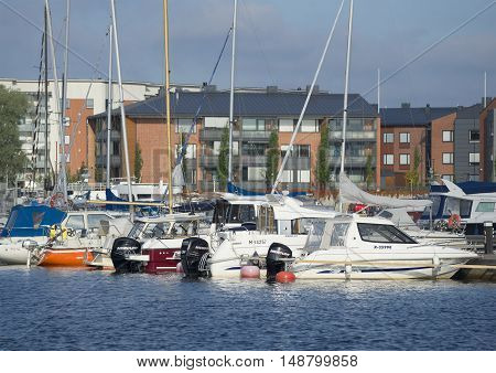 LAPPEENRANTA, FINLAND - AUGUST 09, 2015: Early summer morning in the harbour of Lappeenranta. Tourist landmark of the Finland