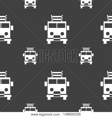 Fire Engine Icon Sign. Seamless Pattern On A Gray Background. Vector