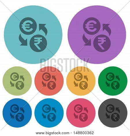 Color Euro Rupee exchange flat icon set on round background.
