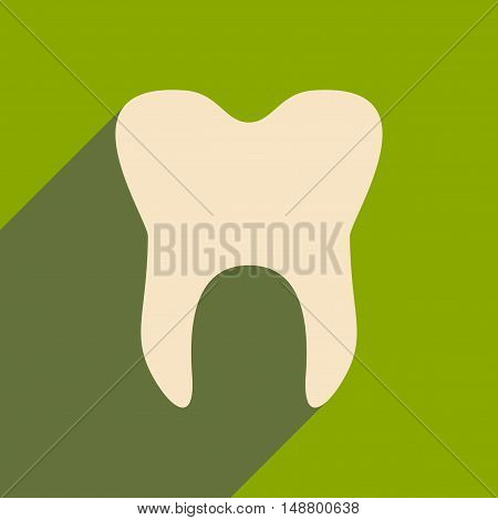 Flat with shadow icon and mobile application Dental logo