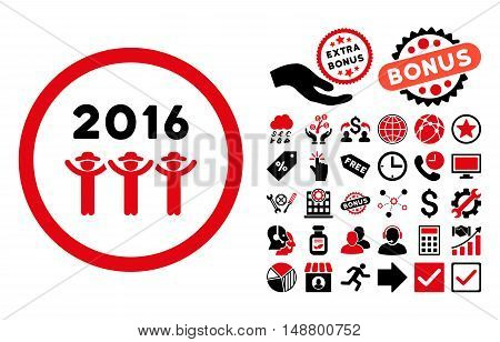 2016 Guys Dance pictograph with bonus design elements. Vector illustration style is flat iconic bicolor symbols, intensive red and black colors, white background.