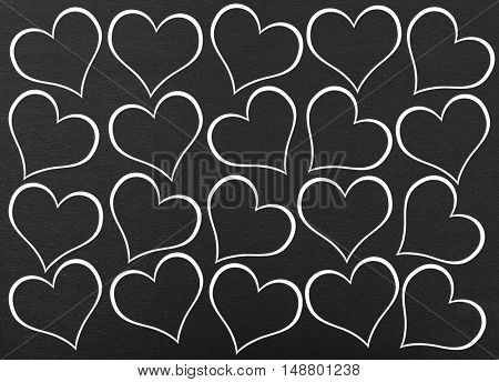 Heart seamless pattern on black background