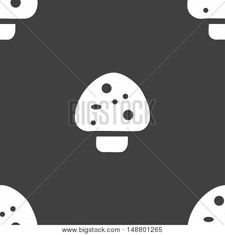 Mushroom Icon Sign. Seamless Pattern On A Gray Background. Vector