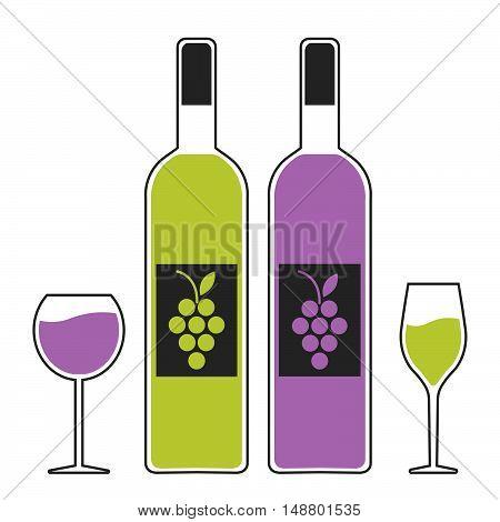 set emblem logo symbol wine festival wine tasting multicolor. vector illustration.