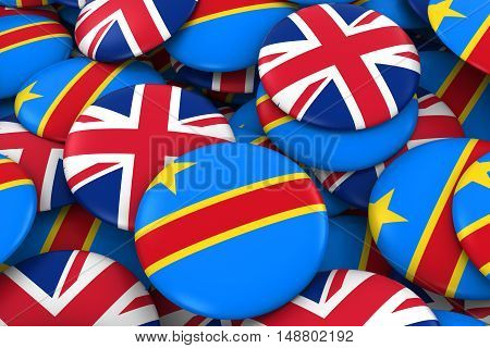 Dr Congo And Uk Badges Background - Pile Of Congolese And British Flag Buttons 3D Illustration