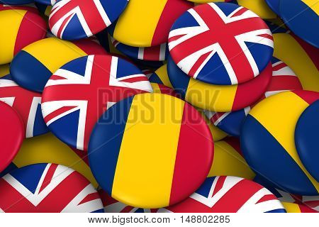 Chad And Uk Badges Background - Pile Of Chadian And British Flag Buttons 3D Illustration