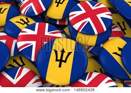 Barbados And Uk Badges Background - Pile Of Barbadian And British Flag Buttons 3D Illustration
