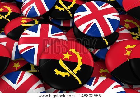 Angola And Uk Badges Background - Pile Of Angolan And British Flag Buttons 3D Illustration