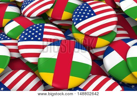 Usa And Central African Republic Badges Background - Pile Of American And Central African Flag Butto