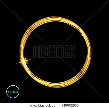 Round energy frame. Shining circle banner. Magic light neon energy circle. Glowing fire ring trace. Glitter sparkle swirl trail effect on black background. Easy to use.