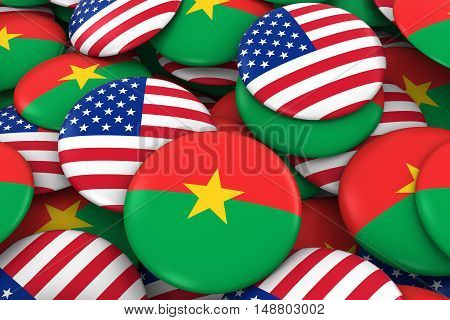 Usa And Burkina Faso Badges Background - Pile Of American And Burkinabe Flag Buttons 3D Illustration
