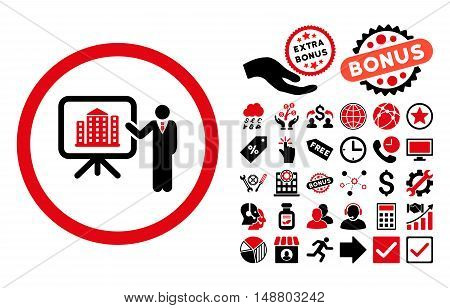 Architecture Presentation icon with bonus pictograph collection. Vector illustration style is flat iconic bicolor symbols, intensive red and black colors, white background.