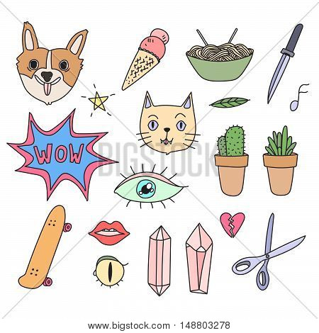 Fun patch summer set. Print pin, sticker collection. Vector illustration.Hand drawn