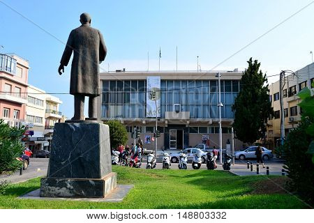 RETHYMNO GREECE - 08.04.2016: city hall landmark architecture street with people editorial