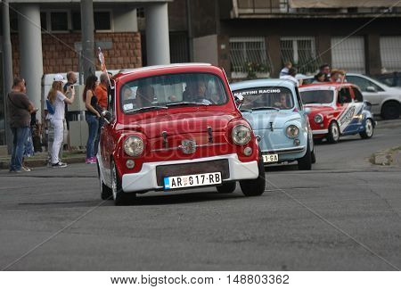 BELGRADE,SERBIA - SEPTEMBER 10 ,2016: Old Zastava 750 at the commercial race of old cars in memory of formula 1 race held on the same place in 1939 two days after the beginning of Second World War when the famous Italian driver Tazio Nuvolari won
