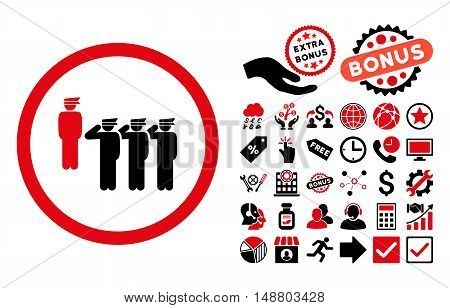 Army Squad pictograph with bonus clip art. Vector illustration style is flat iconic bicolor symbols, intensive red and black colors, white background.