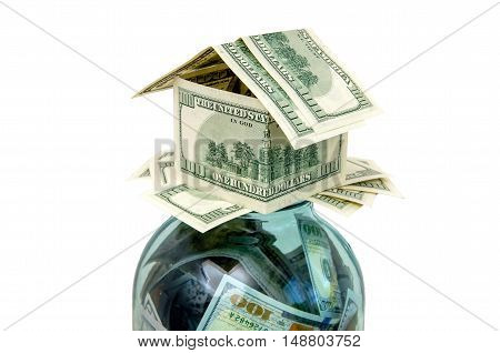 house created from the American currency symbol ,isolated on white background