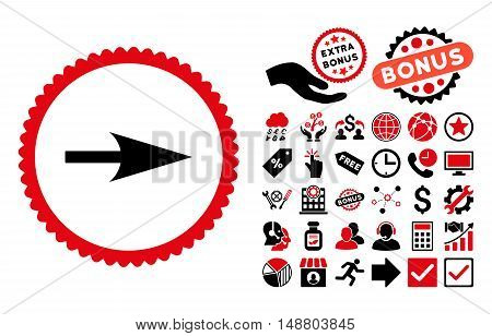 Arrow Axis X pictograph with bonus icon set. Vector illustration style is flat iconic bicolor symbols, intensive red and black colors, white background.