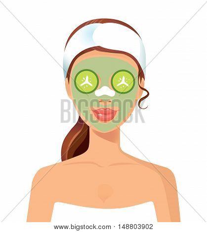 Vector illustration of a beautiful woman with facial mask care. Suitable for spa salons