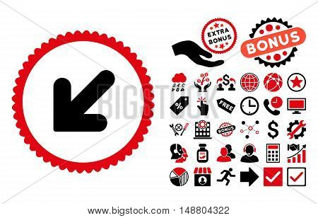 Arrow Down Left pictograph with bonus elements. Vector illustration style is flat iconic bicolor symbols, intensive red and black colors, white background.