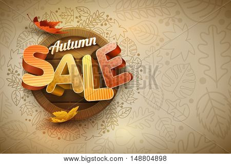 Vector autumn sale poster design template. Elements are layered separately in vector file.